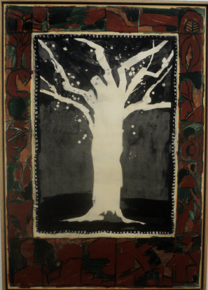 Painting of a tree by Alechinsky