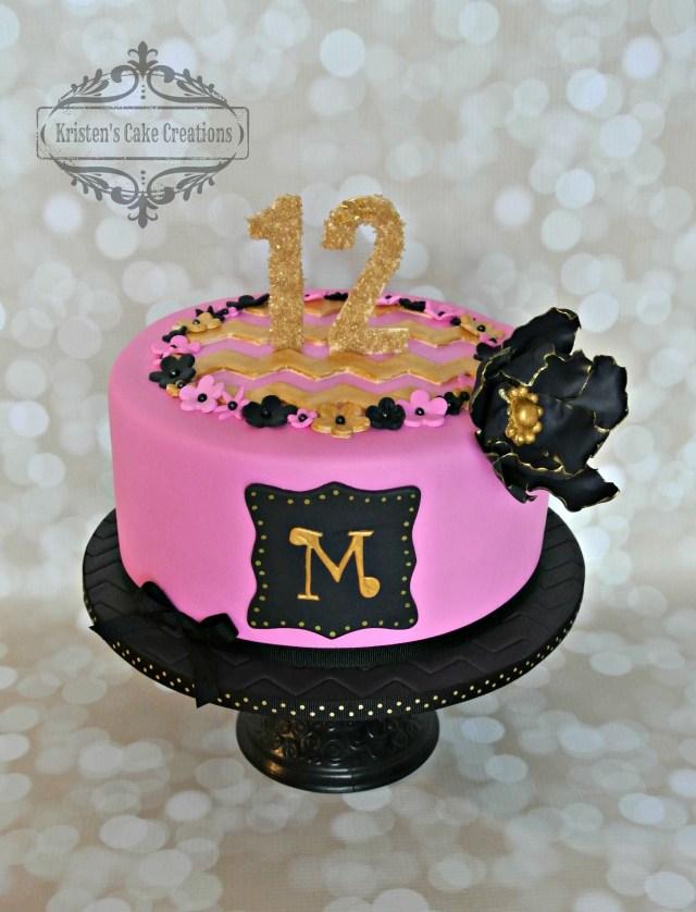 12Th Birthday Cake Pink Black And Gold 12th Birthday Cake Black Flower Chevron