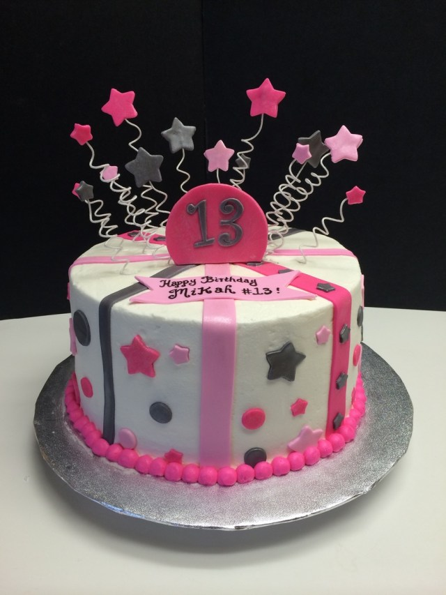 13 Birthday Cake 13th Birthday Cake With Stars Stripes And Polka Dots Pink And