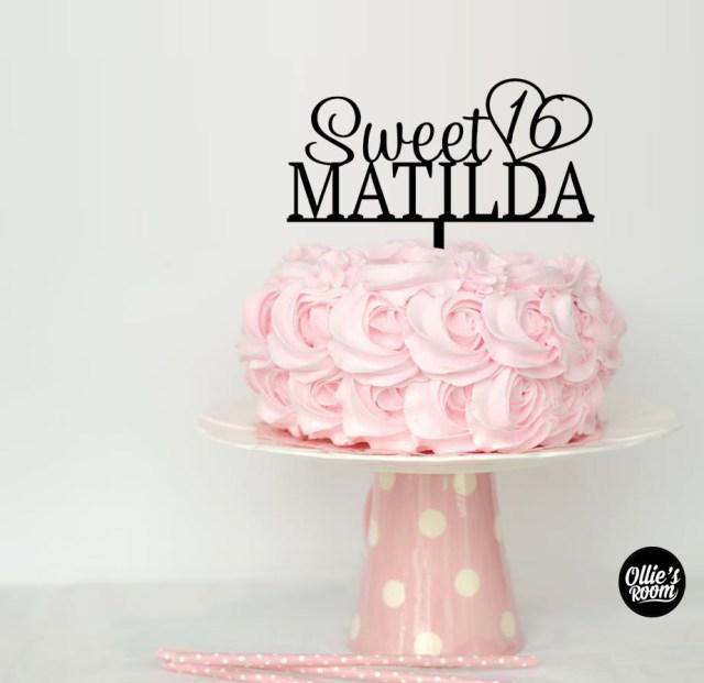 16 Birthday Cakes Personalised Sweet 16 Birthday Cake Topper Australian Made Birthday