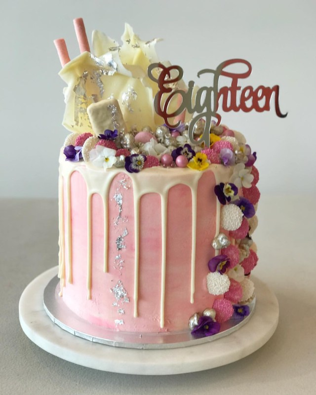 18 Birthday Cake Eighteen Acrylic Silver Mirror 18th Birthday Cake Topper Love Lottie X
