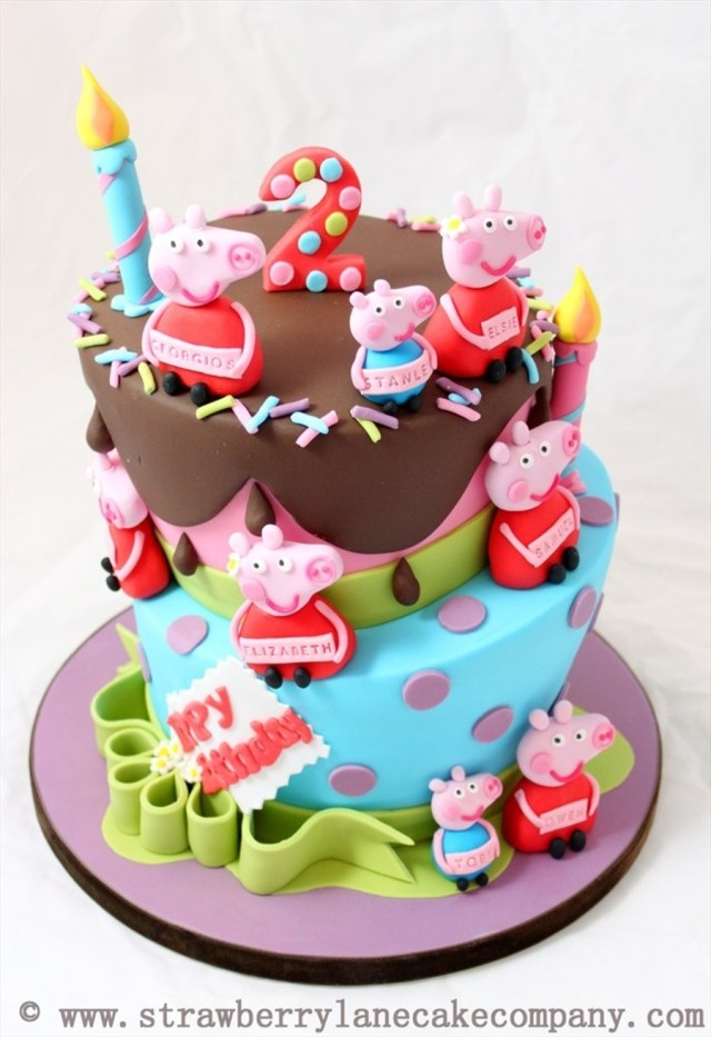 2Nd Birthday Cake Ideas Peppa Pig And George Joint 2nd Birthday Cake For 6 Babies