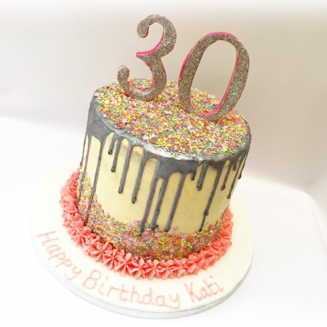 30Th Birthday Cake 30th Birthday Sprinkle And Drip Cake