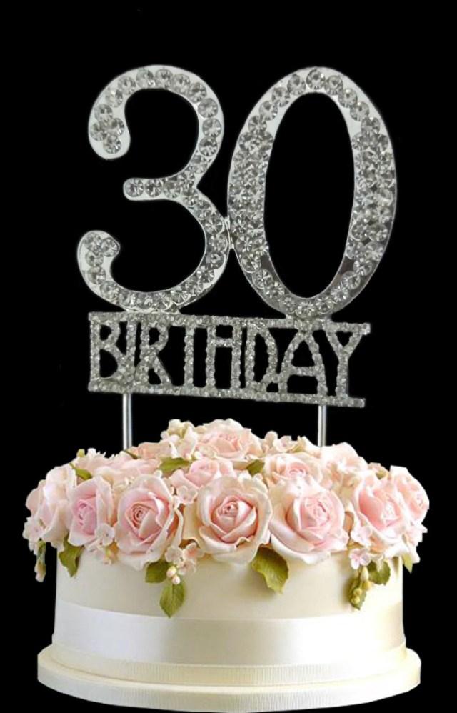 30Th Birthday Cake Crystal Monogran Happy 30th Birthday Cake Topper Rhinestone Diamante