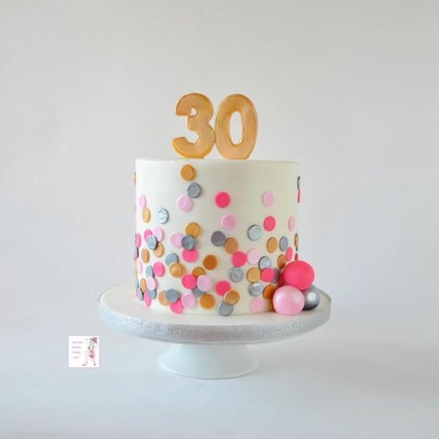 30Th Birthday Cake Polka Dot Birthday Cake Jenny Kennedy Jennys Haute Cakes Cakes