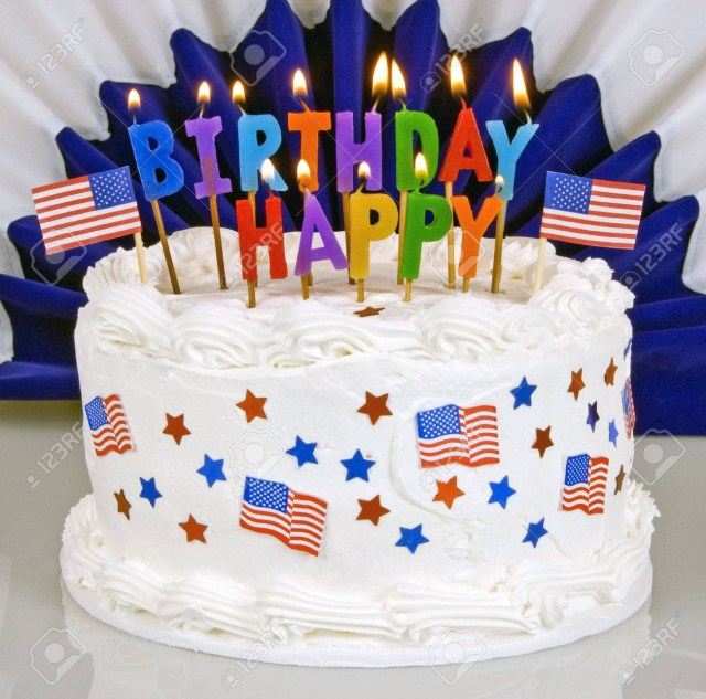 4Th Birthday Cake Patriotic July 4th Birthday Cake With Lit Candles With Patriot