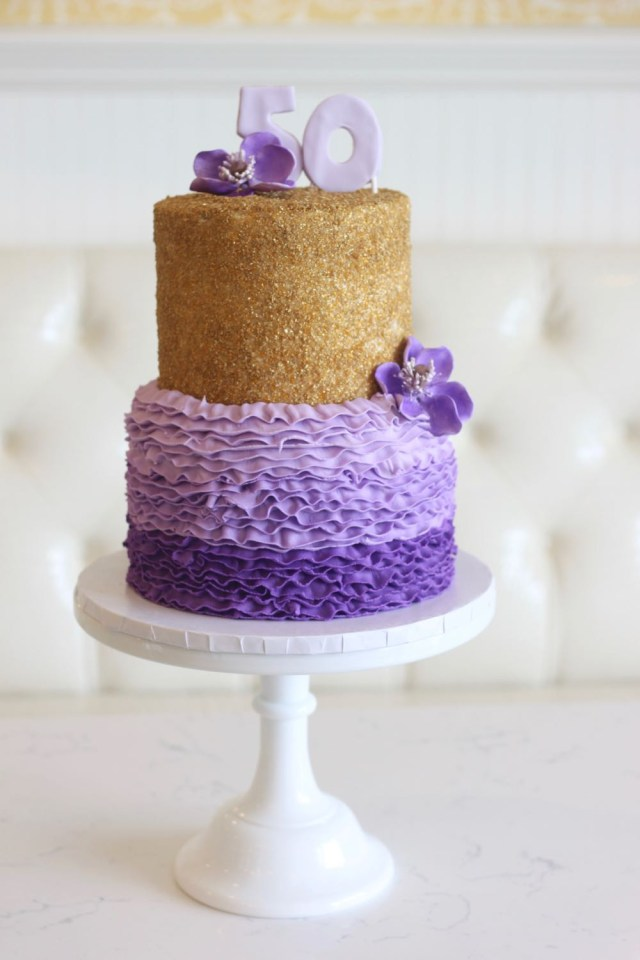 50Th Birthday Cake Images Rise Cupcakes Purple Ombre 50th Birthday Cake