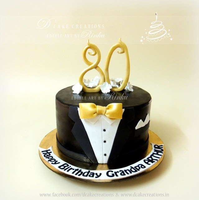 50Th Birthday Cakes For Men Simple Yet Sophisticated Suit Cake 80th