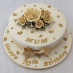 70Th Birthday Cake 10 Round Gold 70th Birthday Cake Adult Birthday Cakes