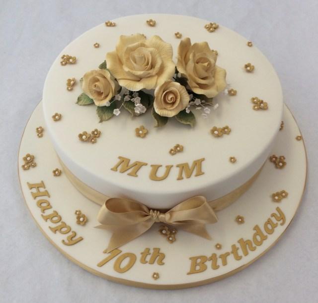 70Th Birthday Cake 10 Round Gold 70th Birthday Cake Adult Birthday Cakes