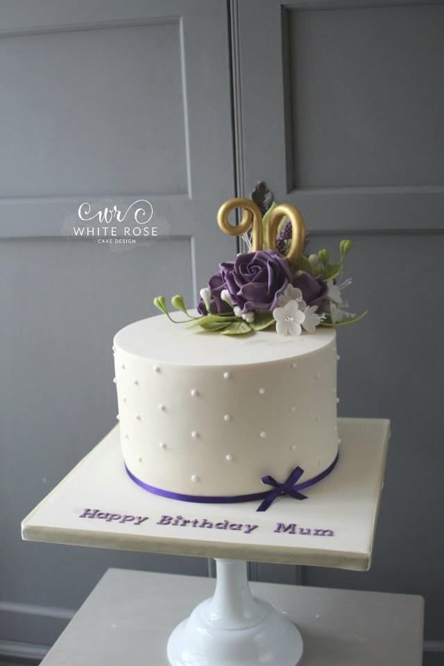 90Th Birthday Cake Ideas 90th Birthday Cake With Purple Flowers White Rose Cake Design