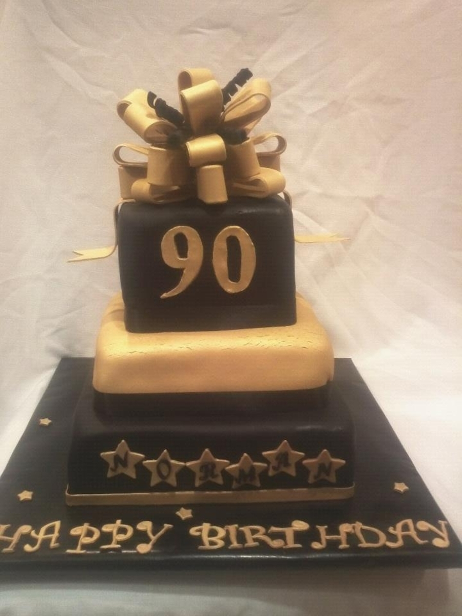 90Th Birthday Cake Ideas Black And Gold 90th Cakecentral