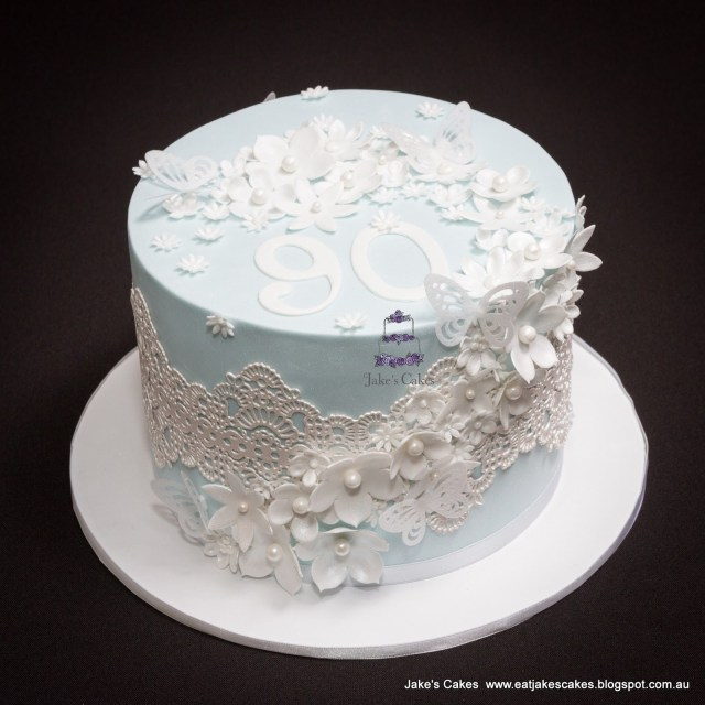 90Th Birthday Cake Ideas Jakes Cakes Flowers And Butterflies 90th