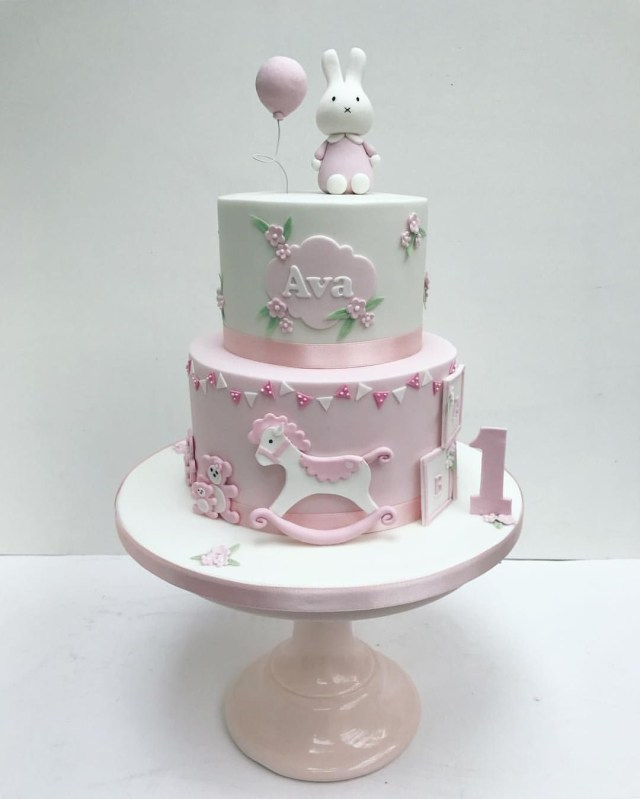 Baby 1St Birthday Cake Miffy Pink Bunny Cake For Little Girls First Birthday Sweet