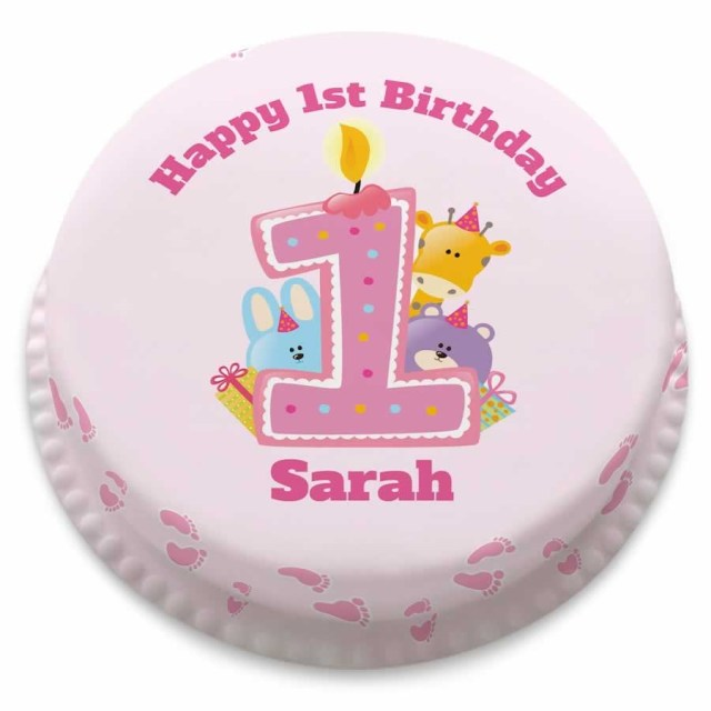 Baby Girl Birthday Cake Personalised Girls 1st Birthday Cake From Just 1499 Bakerdays