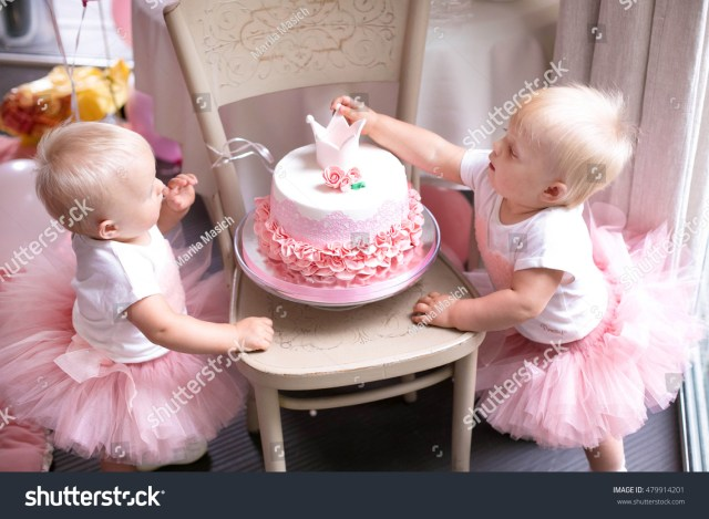 Baby Girl Birthday Cake Twin Sister Birthday Girl Birthday Cake Stock Photo Edit Now