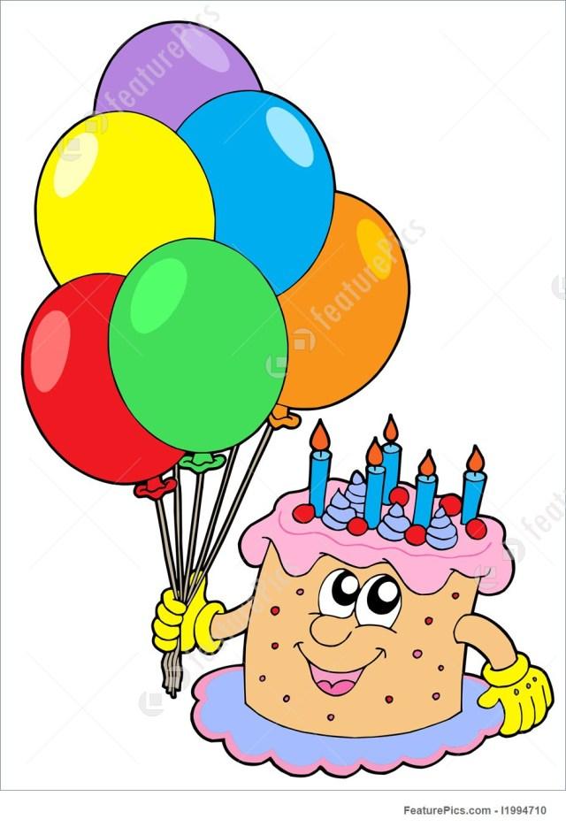Balloon Birthday Cake Birthday Cake With Balloons Illustration