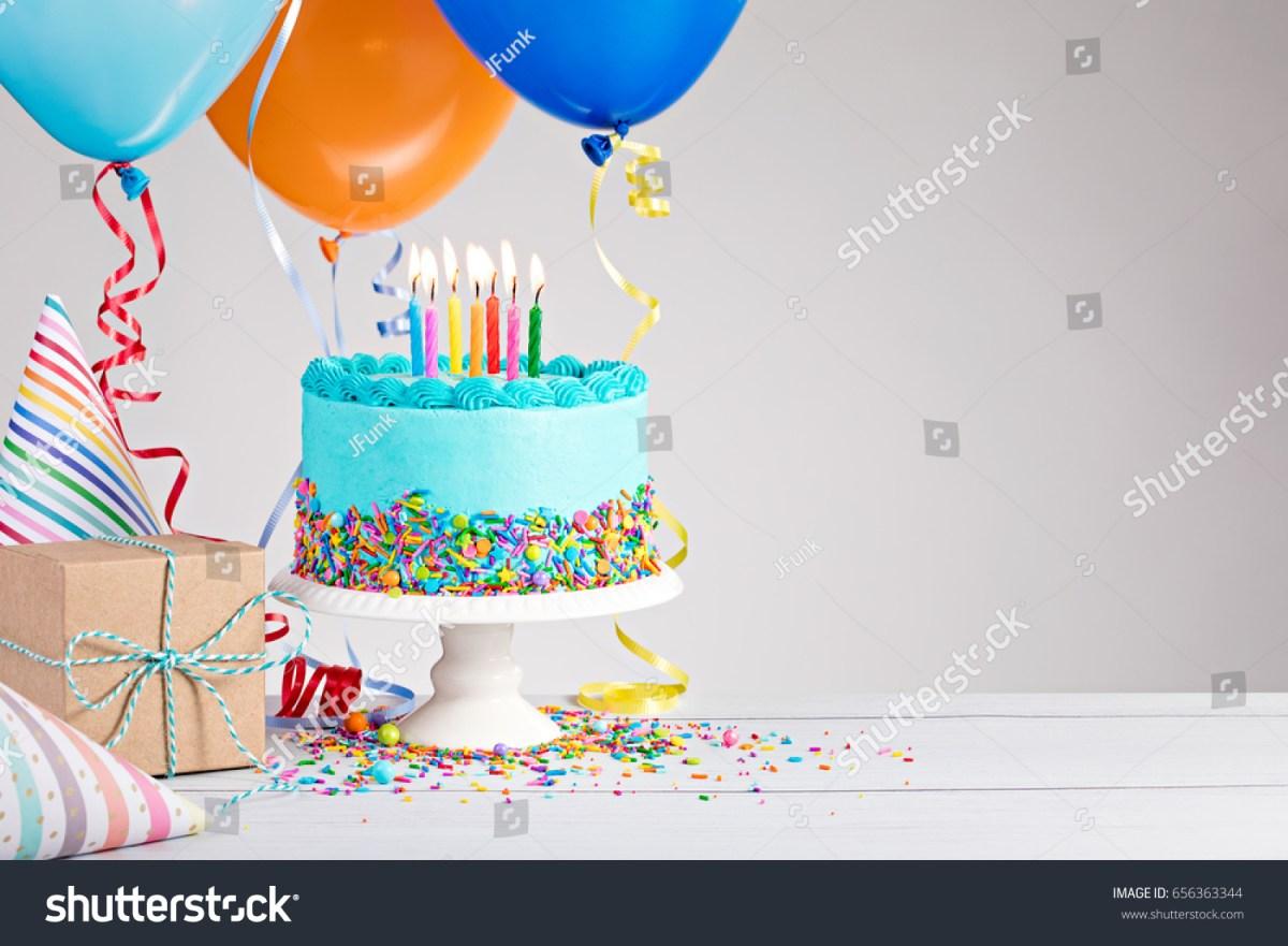Balloon Birthday Cake Blue Birthday Cake Presents Hats Colorful Stockfoto Jetzt