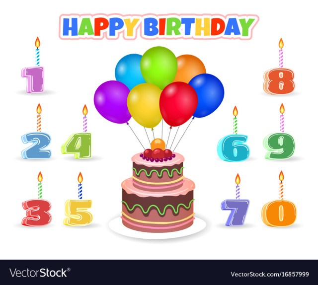Balloon Birthday Cake Cartoon Birthday Cake With Balloons Royalty Free Vector