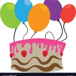 Balloon Birthday Cake Color Silhouette With Birthday Cake And Balloons Vector Image