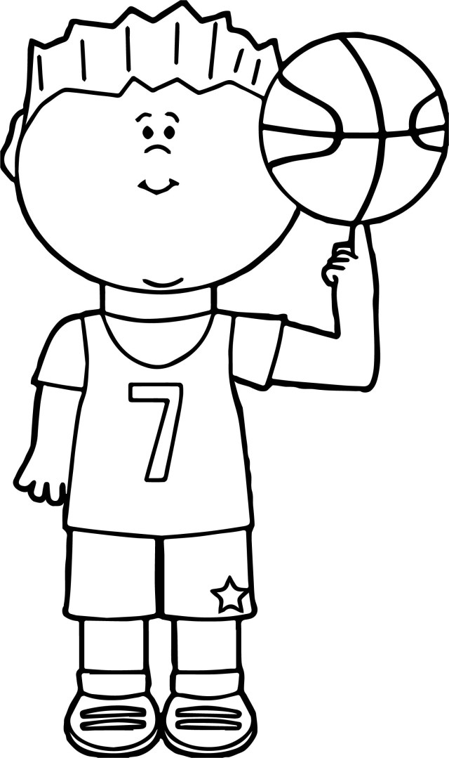 Basketball Coloring Pages Child Player Balancing Basketball On Finger Playing Basketball