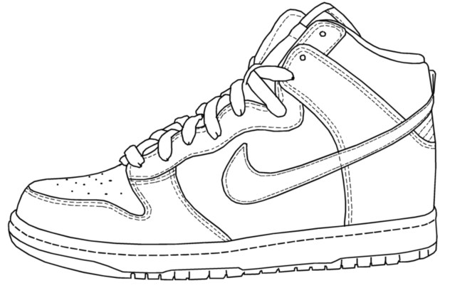 Basketball Coloring Pages Interesting Nike Shoes Coloring Pages Basketball Drawing At