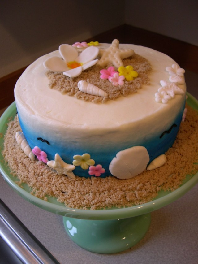 Beach Theme Birthday Cake Beach Themed Birthday Tis The Season Cake Hawaiian Birthday