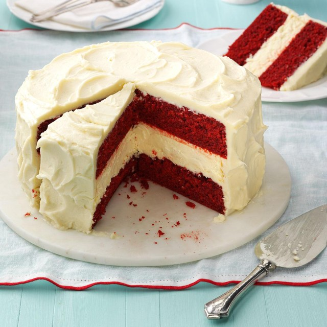Birthday Cake Cheesecake Cheesecake Layered Red Velvet Cake Recipe Taste Of Home