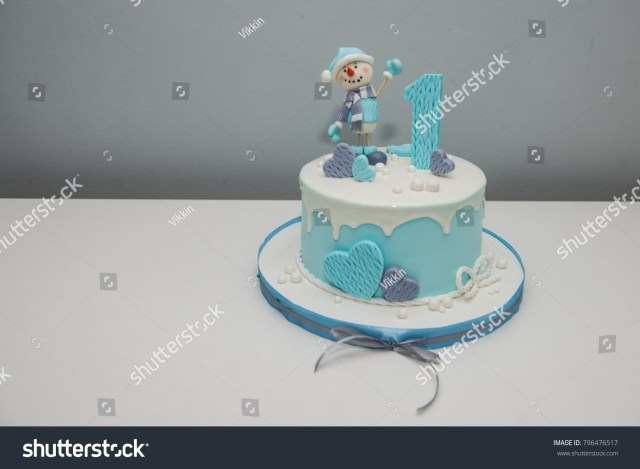 Birthday Cake For 1 Year Old Colorful Decoration First Year Birthday Cake Stock Photo Edit Now