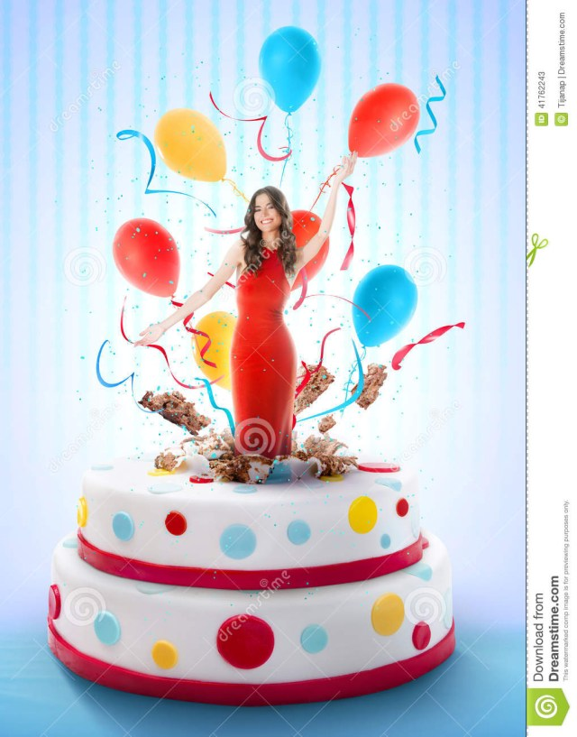 Birthday Cake For Girl Beautiful Woman Jumping Out Of The Cake Stock Image Image Of