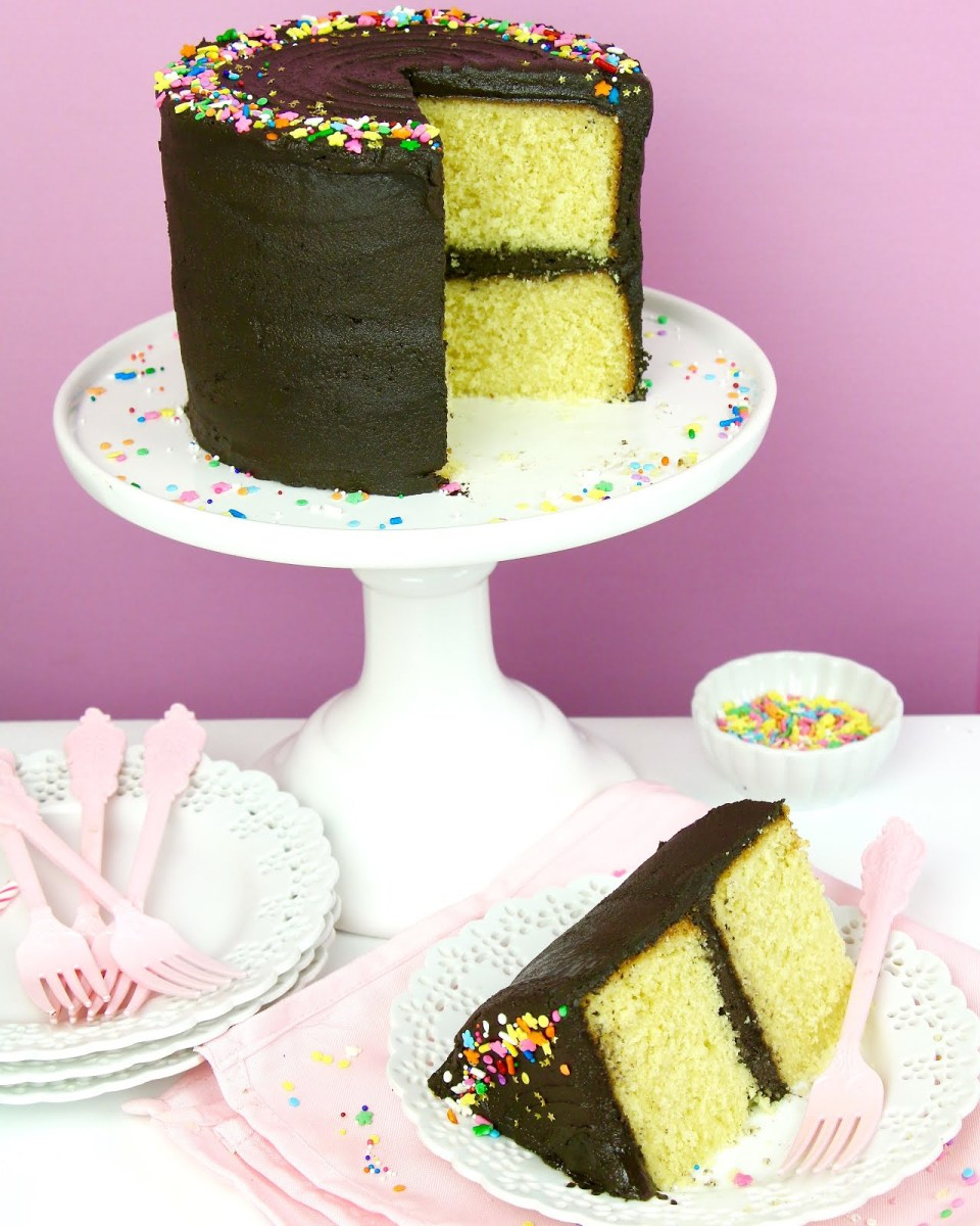 Birthday Cake Frosting Video The Best Yellow Birthday Cake With Chocolate Frosting