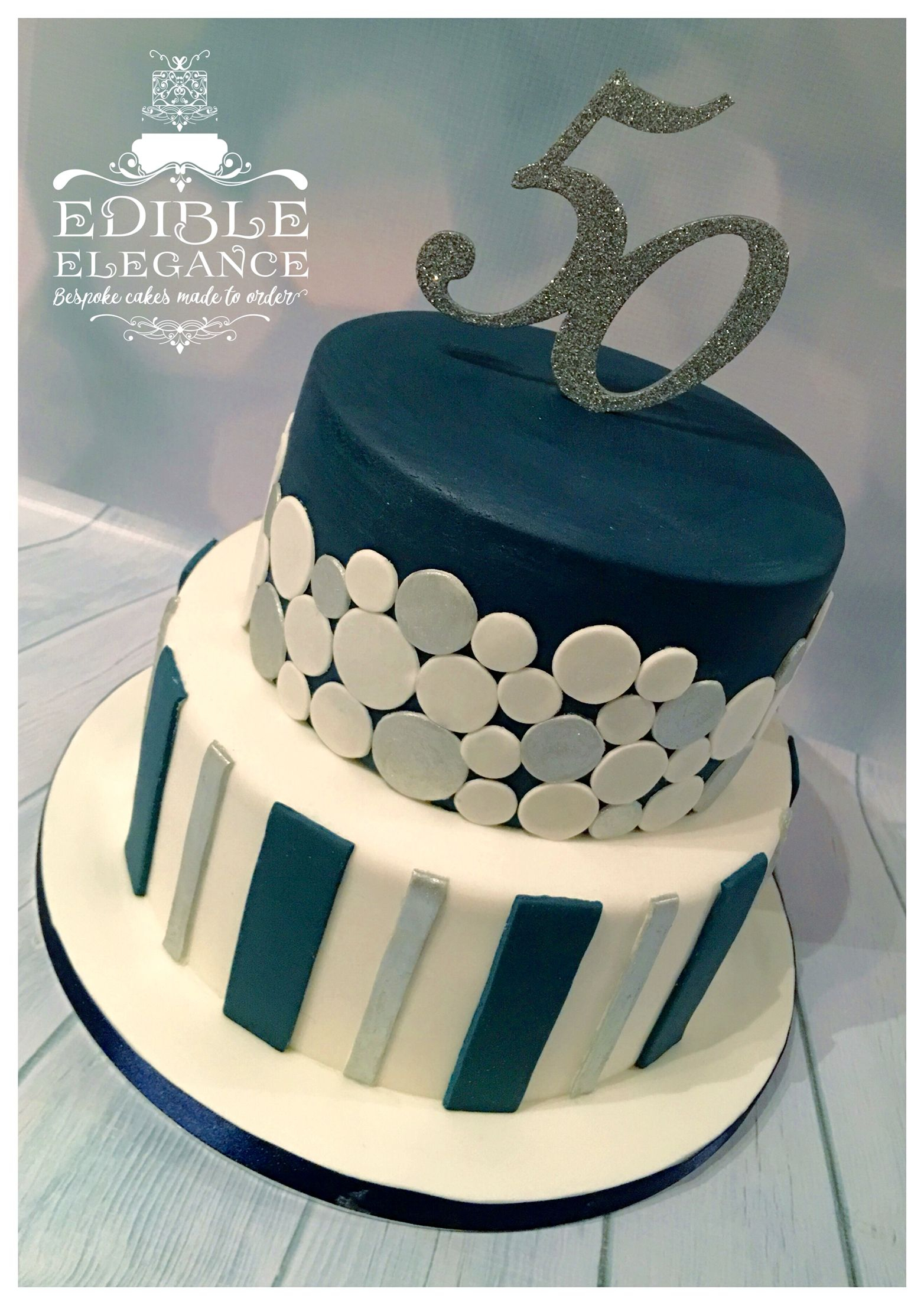 Birthday Cake Ideas For Adults 50th Contemporary Design In Masculine Blue White And