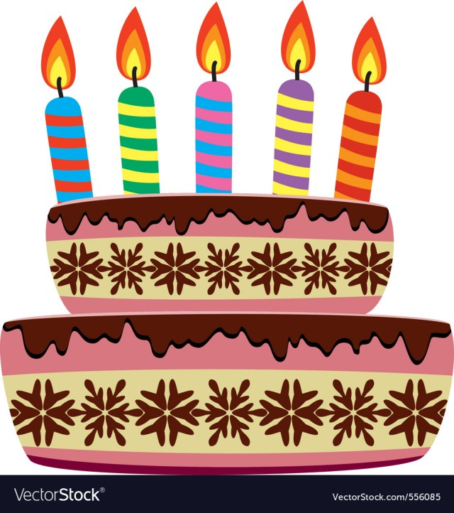 Birthday Cake Images With Candles Birthday Cake With Burning Candles Royalty Free Vector Image