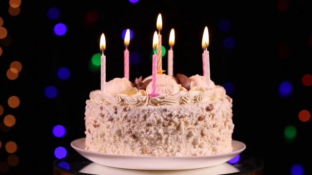 Birthday Cake Images With Candles Happy Birthday Cake With Burning Candles In Front Of Black