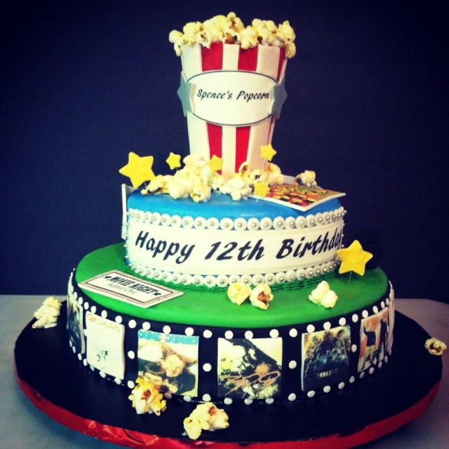 Birthday Cake Movie Movie Themed Birthday Cake With Film Marquee Candy And Popcorn