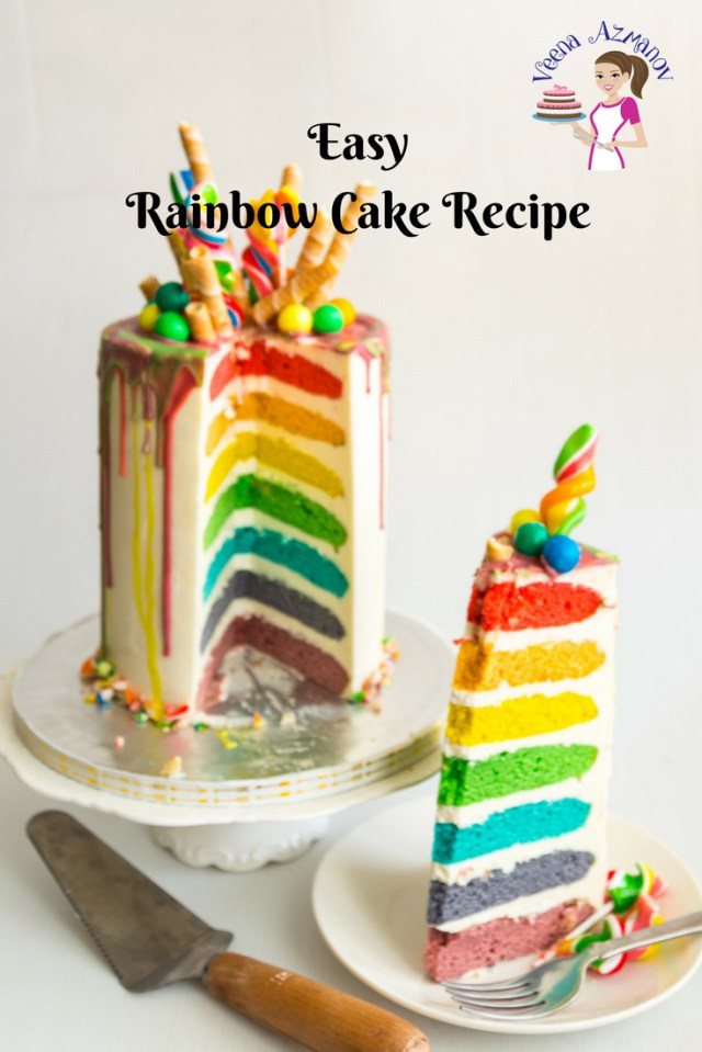 Birthday Cake Recipes Easy Rainbow Cake Recipe Seven Rainbow Layer Cake Veena Azmanov