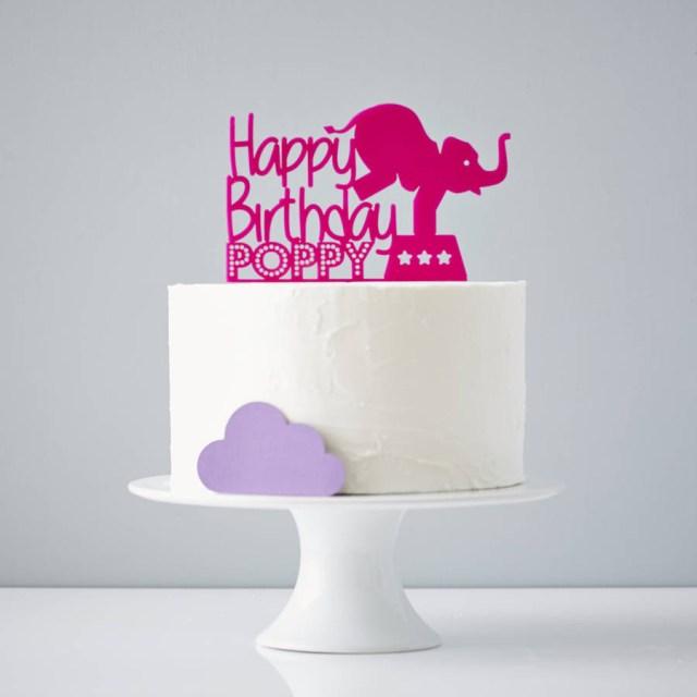 Birthday Cake Toppers Circus Elephant Personalised Birthday Cake Topper Sophia Victoria