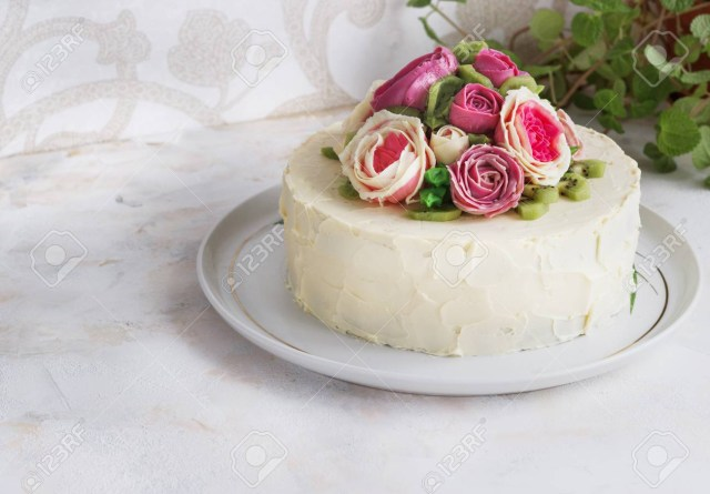 Birthday Cake With Flowers Birthday Cake With Flowers Rose On White Background Stock Photo
