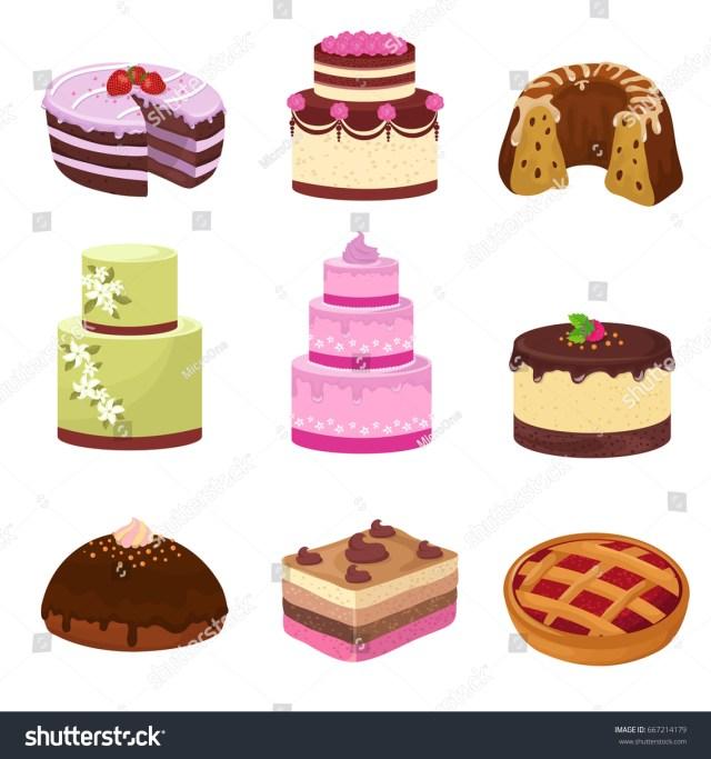 Birthday Party Cakes Happy Birthday Party Cakes Decorations Isolated Stock Vektorgrafik