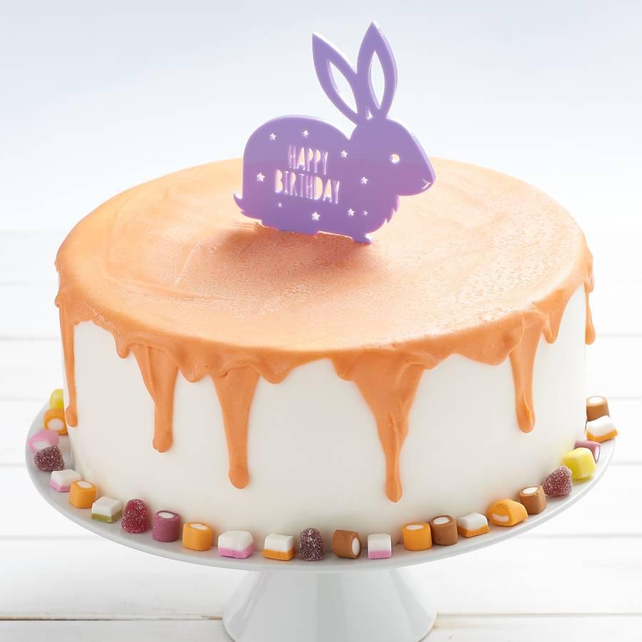Bunny Birthday Cake Personalised Rabbit Birthday Cake Topper Owl Otter