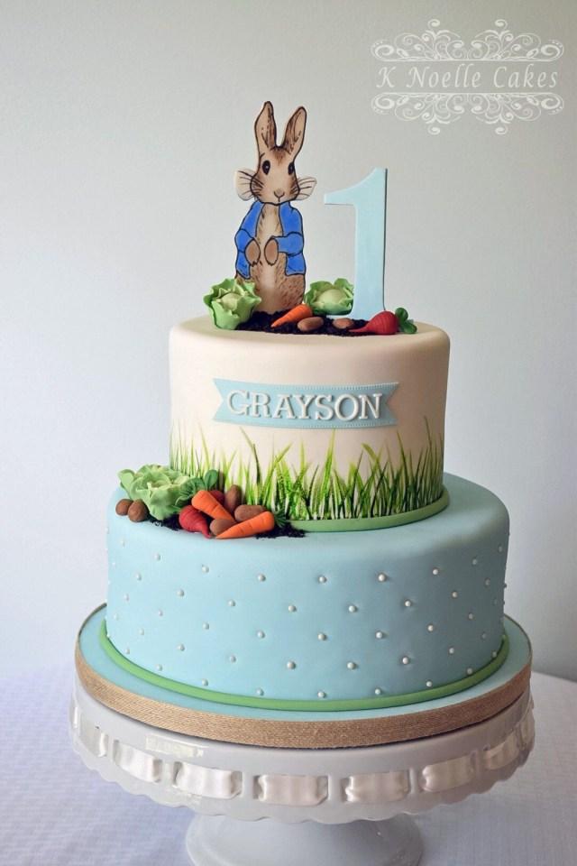 Bunny Birthday Cake Peter Rabbit Themed 1st Birthday Cake K Noelle Cakes Cakes