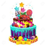 Cake Happy Birthday Happy Birthday Cake Bright Vector Isolated Illustration Of A