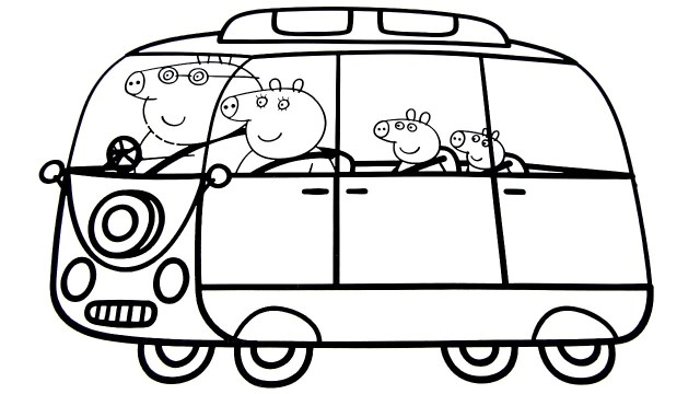 Car Coloring Pages Peppa Pig Family In New Car Coloring Book Coloring Pages Video For