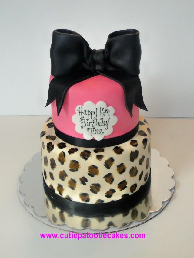 Cheetah Print Birthday Cakes Hot Pink And Cheetah Cake Cakes Cupcakes And More Pinterest