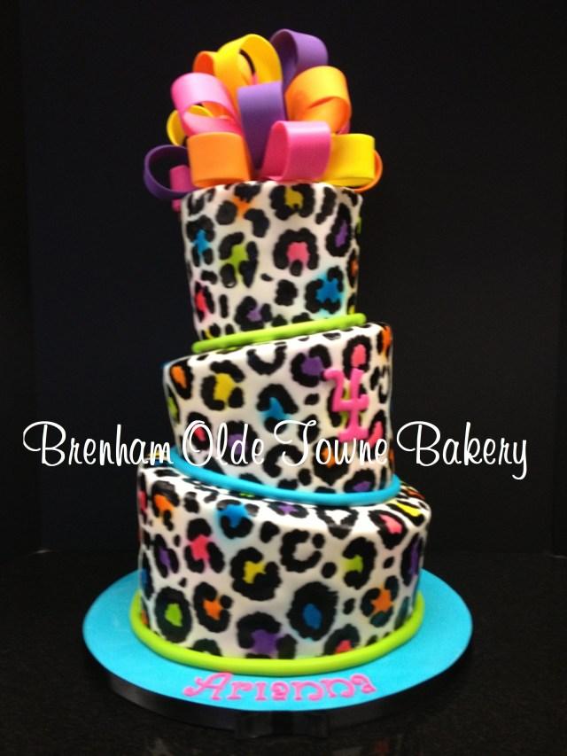 Cheetah Print Birthday Cakes Topsy Turvy Neon Leopard Print Birthday Cake Brenham Olde Towne