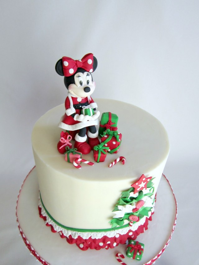 Christmas Birthday Cake Delectable Cakes Adorable Minnie Mouse Christmas Birthday Cake