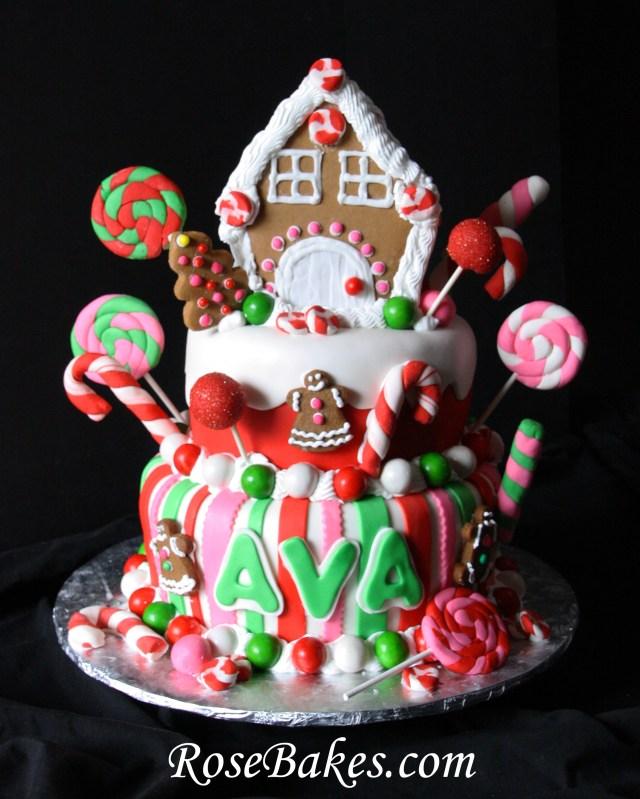 Christmas Birthday Cake Gingerbread House Christmas Candy Birthday Cake