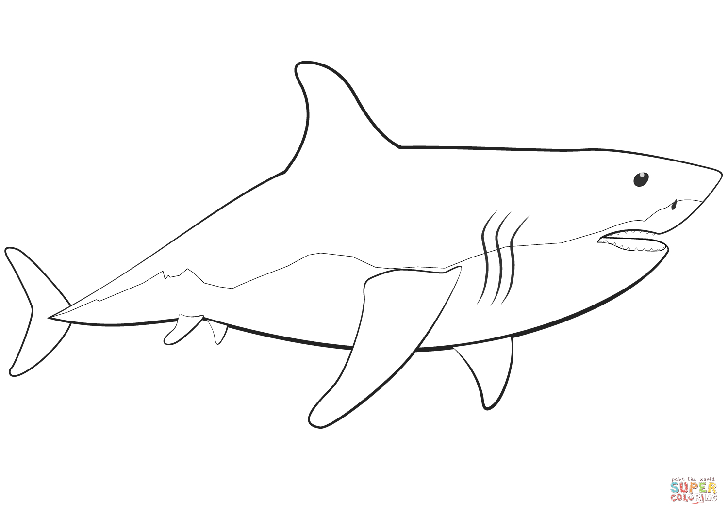 Coloring Pages Sharks Great White Shark Coloring Page Free ...