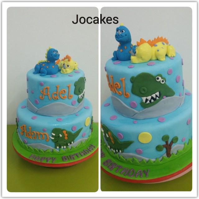 Dinosaur Birthday Cakes Dinosaurs Cake For Sibling Adel 1 And Adam4s Birthday Jocakes