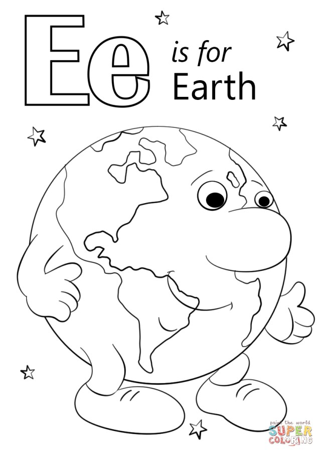 Earth Coloring Pages Letter E Coloring Pages Letter E Is For Earth Coloring Page Free